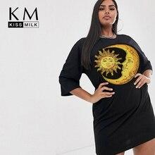 Kissmilk Women Plus Size Summer Street  Loose Casual Adjustable Formal Dailywear Pattern Three Quarter Sleeve Dress