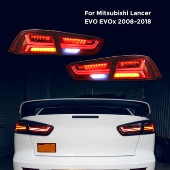 Luz trasera LED para Mitsubishi Lancer EVO x 2008-2018 trasera luz LED de freno trasero lámpara izquierda torneado lateral de la luz de señal