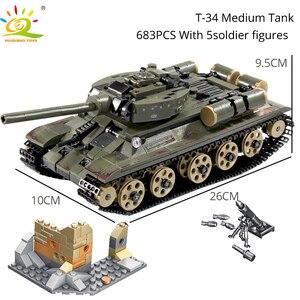 Image 4 - HUIQIBAO wojskowy niemiecki król tygrys zbiornik model klocki armii WW2 figurki żołnierzy człowiek broń cegły dzieci zabawki chłopięce prezent