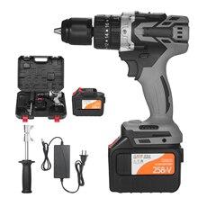 21V Cordless Drill Driver Max Torque 200N.m 1/2 Inch Metal Keyless Chuck 0-1550RMP Variable Speed Impact Home Hammer Drill