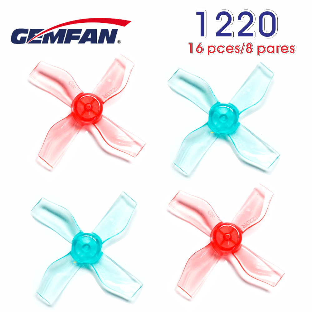 16PCS/8Pairs Gemfan <font><b>1220</b></font> 31mm 0.8mm/1mm Hole 4-blade Propeller for 0703-1103 micro Drone FPV Racing Brushless <font><b>Motor</b></font> image