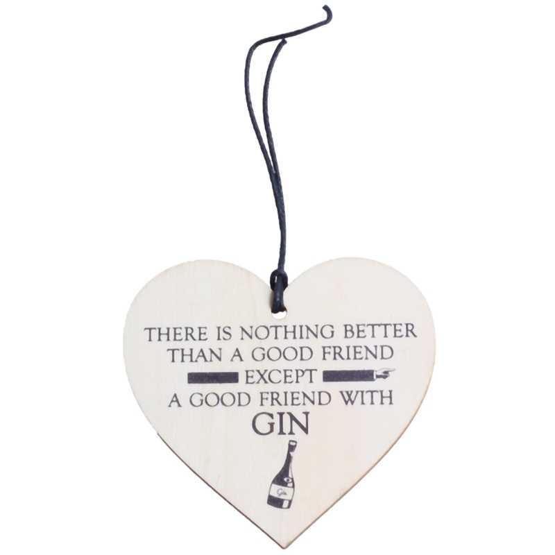 NEW-Good Friend With Gin Novelty Wooden Hanging Heart Plaque Alcohol Joke Sign