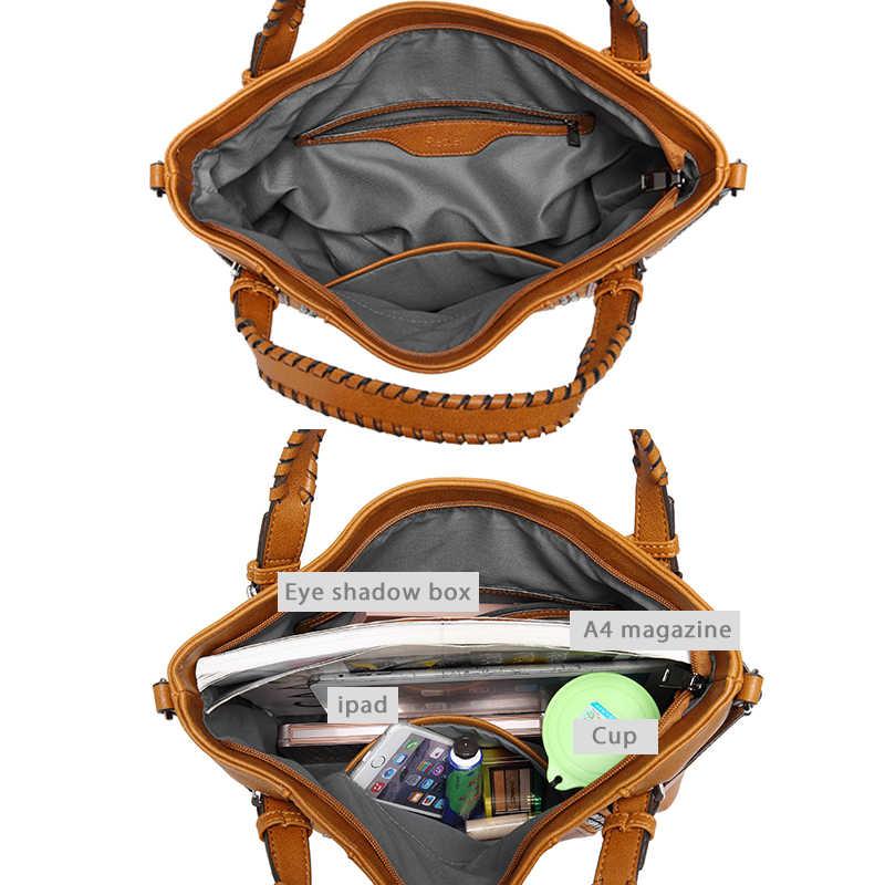 REALER бренд стильная женская сумка в руках высокого качества с короткими ручками, большая ручная сумка с заклепками, женские сумки через плечо с длинным ремнем