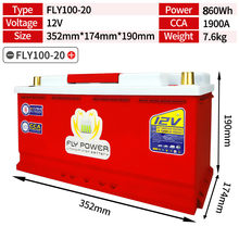 FLY100-20 Mobil LiFePO4 Battery High Power 12V 860Wh CCA1900A dengan Melompat Starter Perlindungan Mobil Baterai Lithium Besi(China)