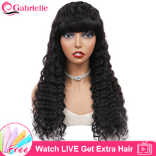 Gabrielle Brazilian Deep Wave Human Hair Wig with Bangs Curly Short Bob Wig Machine Made Wig for Women Remy Hair Pixie Cut Wig