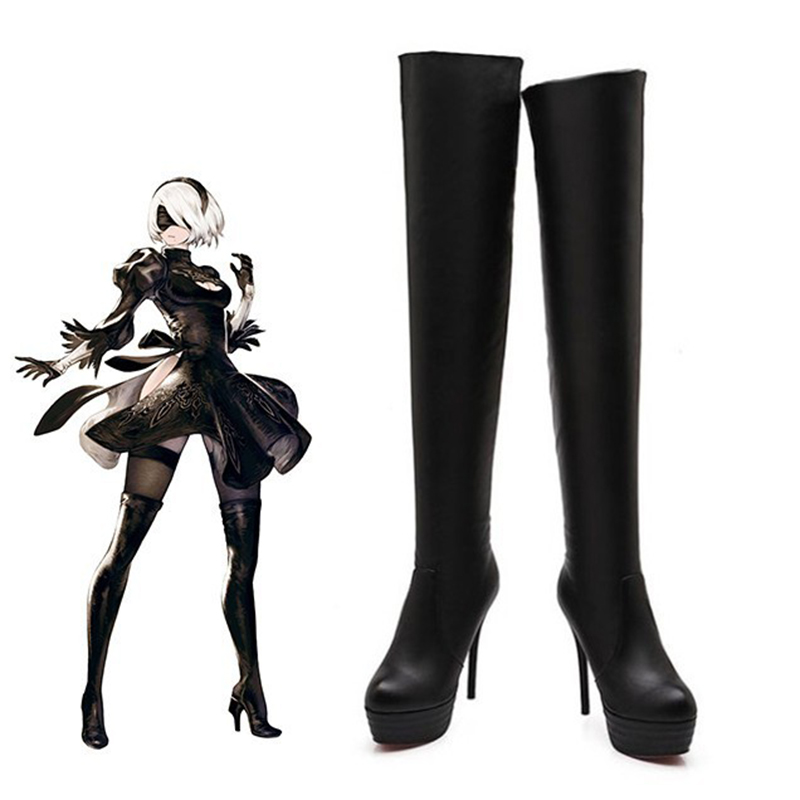 Harajuku Handmade for Game NieR Automata 2B A2 9S Cosplay Shoes Custom Made Long Boots Costume Shoe