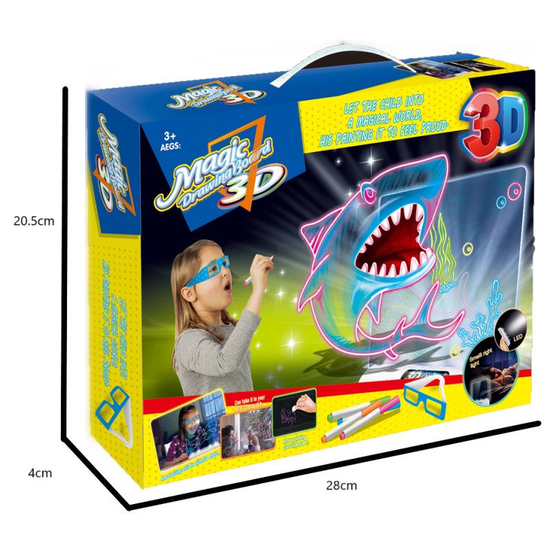 New children's 3d color drawing board graffiti board, portable design, safety toys, led, wipes, children's gifts,size15*16cm