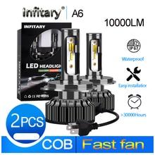 Infitary h4 LED H1 H11 9005 h7 الصمام 3 تغيير لون سيارة كشاف أمامي للضباب 3000K 4300K 6500K فلاش 72W أضواء السيارات 2 قطعة