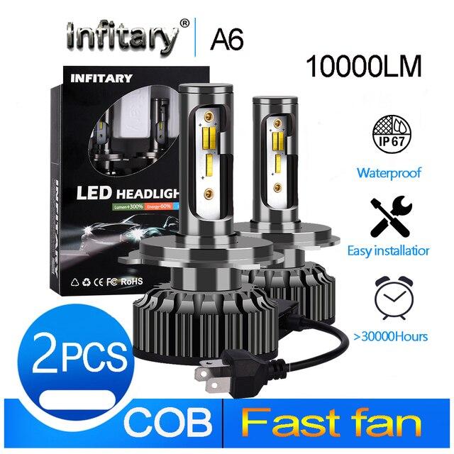 Infitary h4 LED H1 H11 9005 h7 LED 3 color changing car headlight fog light  3000K 4300K 6500K flash 72W Auto Lights 2 Pcs