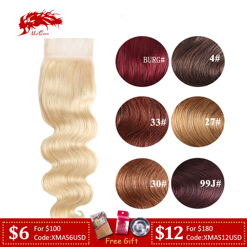 Ali Queen Hair Extra Pro.Ratio 10A Brazilian Remy Human Hair 4x4 Body Wave Middle/Free Part 10