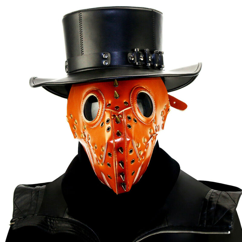 Gothic Black Plague Steampunk Half Face Mask Cosplay Halloween Costume Party New