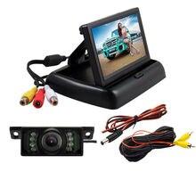 """Carro 4.3 """"placa de licença invertendo câmera dobrável monitor lcd carro retrovisor kit câmera do monitor autocaravana acessórios"""