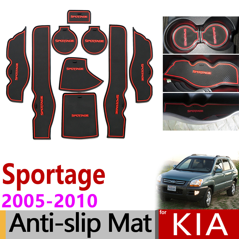 Anti-Slip Gate Slot Mat Rubber Coaster For KIA Sportage 2005 2006 2007 2008 2009 2010 JE KM MK2 Accessories Car Stickers 9pcs