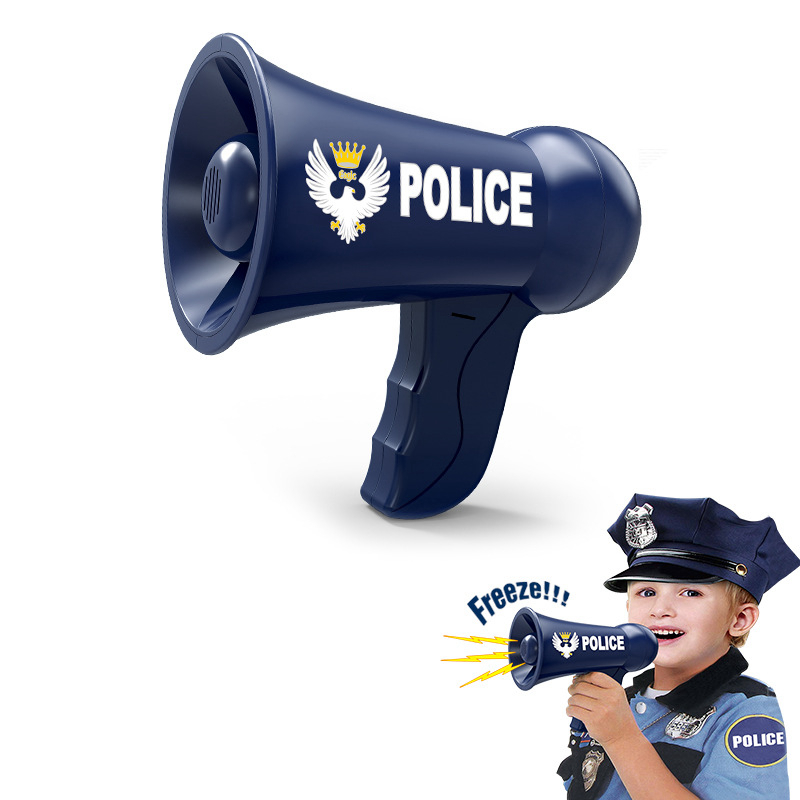 1Pc Children Role Play Toy Police Megaphone Pretend Play Police Cosplay Set Battery Powered Horn <font><b>Speaker</b></font> Toys Kids Gifts image