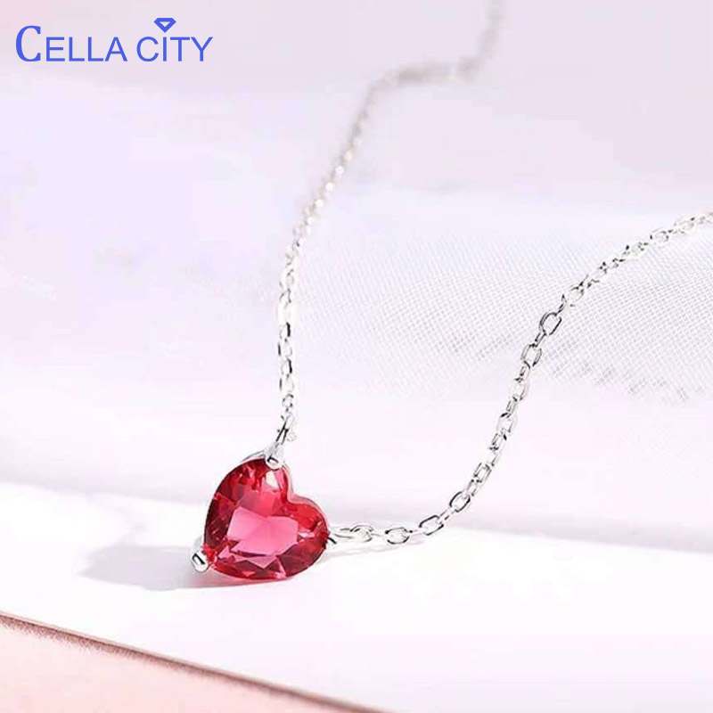 Cellacity 925 Sterling Silver Necklace For Women With Heart Shape Ruby Gemstones Silver Wedding Gift Wholesale Fine Jewelry