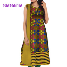 African Dresses for Women 2019 New Simple Sleeveless High Waist Print Lady Casual Plus Size Midi Dress WY5099