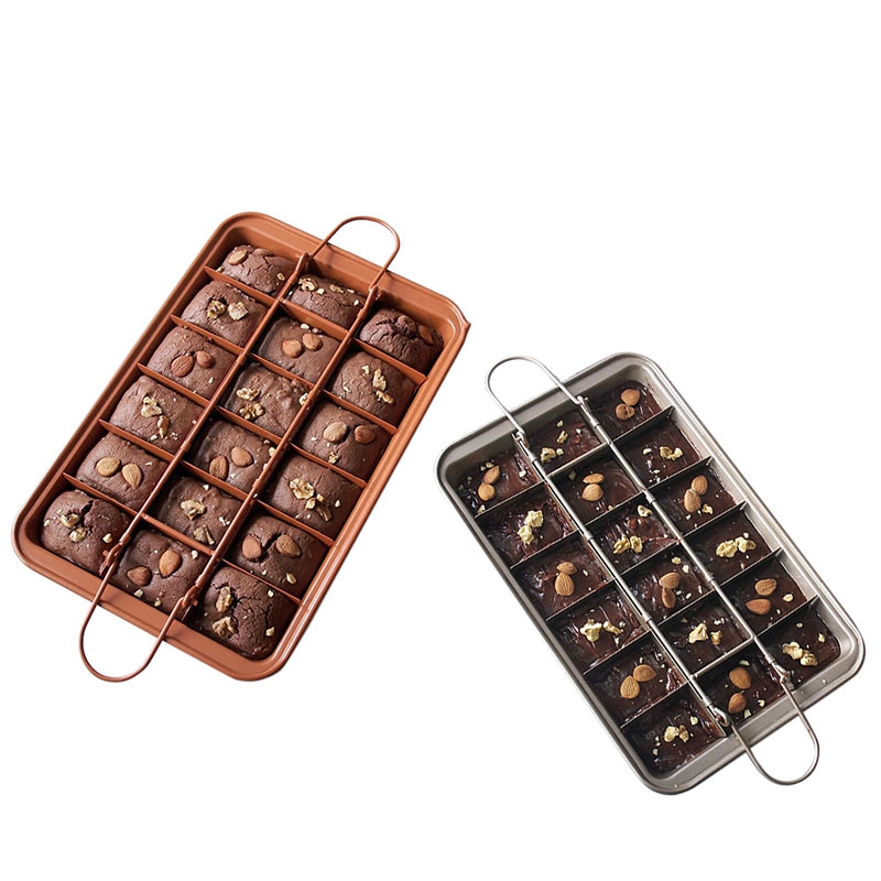 Big deal 2PCS Carbon Steel Square Lattice Brownie Baking Pan 18 Cavity Chocolate Cake Mould Baking Tool image