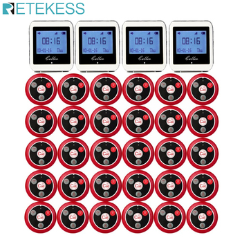 Sistema de llamada de camarero inalámbrico RETEKESS para el sistema de localización de servicio de restaurante, localizador de invitados, 4 reloj RECEPTOR + 30 botones de llamada F3288B