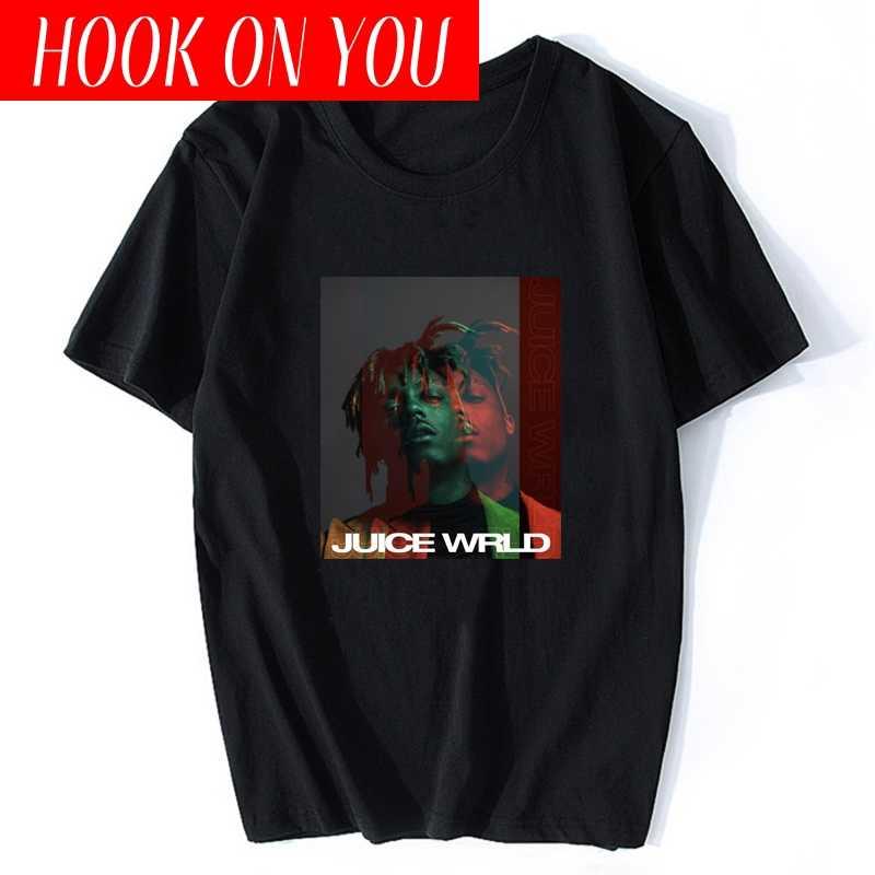 ヒップホップ歌手尊重ジュースwrldプリントtシャツ男性ストリート盗品ファッションユニセックストップスラッパーファンクラブメンズ原宿tシャツ