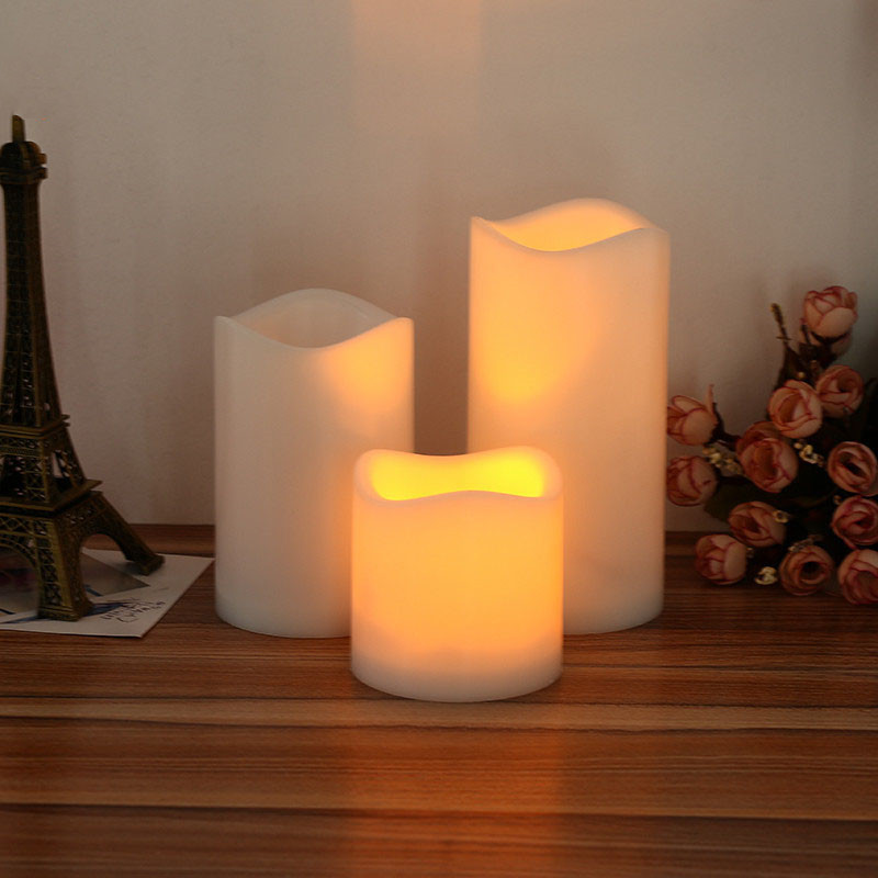 15/13/10/7cm Cylindrical Flickering LED Candle Light Flameless Christmas Lamp Home Decoration Table Center Wedding Centerpieces