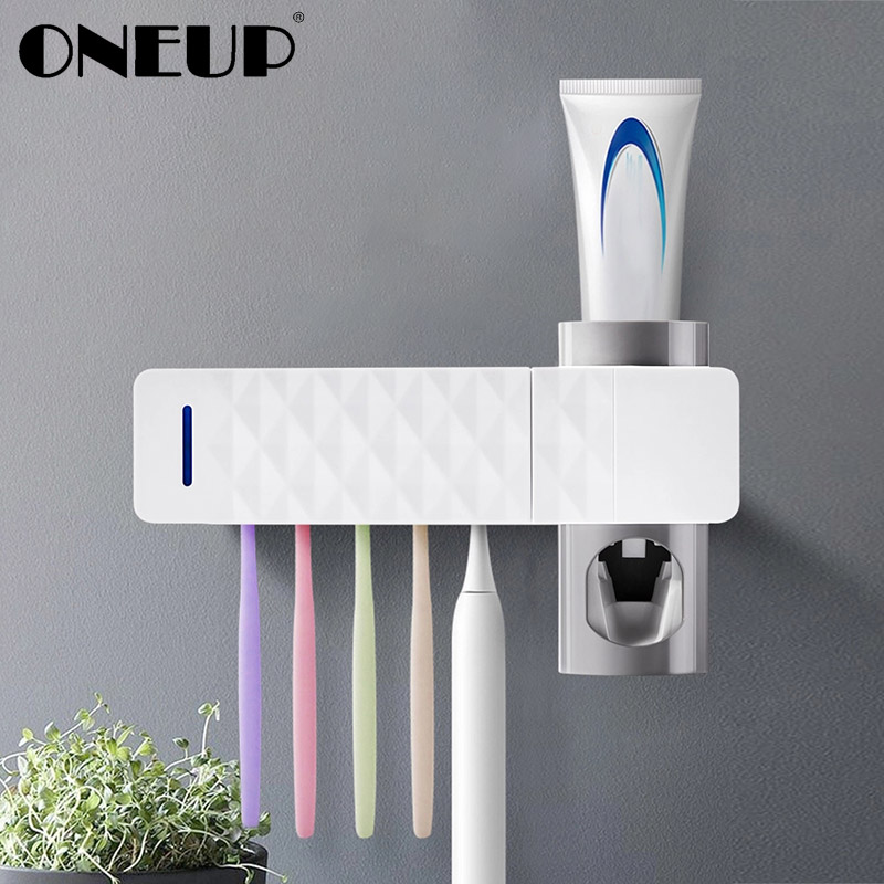 ONEUP Antibacteria UV Light Toothbrush Sterilizer Holder Automatic Toothpaste Squeezers Dispenser Home Bathroom Accessories Sets