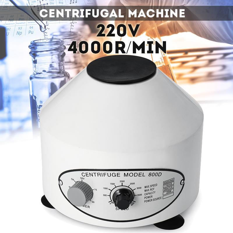 220V 800D centrífuga de laboratorio eléctrica máquina de práctica médica suministros prp aislar suero 4000rpm 6 piezas 20ml centrífuga tubo