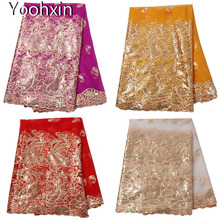 NEW sequin african lace fabric Embroidered flower lace fabric 5 yards sewing DIY trim applique Ribbon collar dress guipure decor 20cm wide new colorful embroidery flower lace collar fabric sewing applique diy ribbon trim wedding dress guipure new year decor