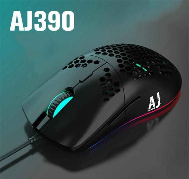 AJ390 ratón para videojuegos con luz LED, 6 colores, 16000DPI, ajustable, 7 teclas, diseño hueco, 69g, con cable para ordenador