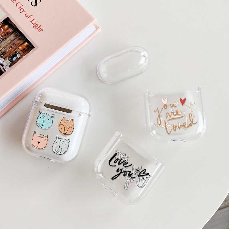 ハード PC 透明イヤホン Apple の AirPods 1 2 充電ボックスかわいい漫画サボテンクリスタル Airpods 用ケース