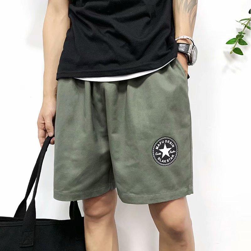 2019 Summer 57 Shorts Men's Shorts Loose-Fit Bermuda Shorts Summer Korean-style Badge Printed Bib Overall Versatile