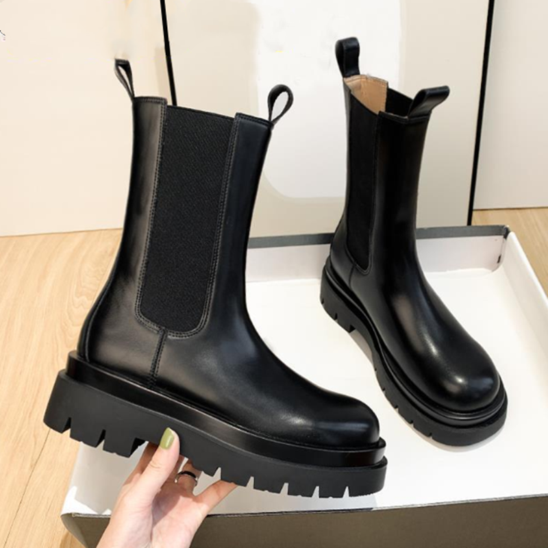 New Luxury Chelsea Boots Women Ankle Boots Chunky Winter Shoes Platform Ankle Boots Slip on Chunky Heel BV Boot Brand Designer