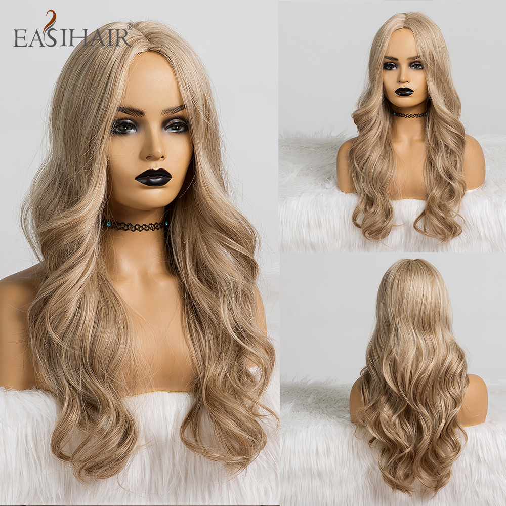 EASIHAIR Long Wave Blonde Synthetic Wigs Ombre Wigs For Women African American Wavy Cosplay Wigs Heat Resistant Fake Hair