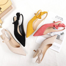 2020 Spring Shoes Woman Slingbacks Small Thin High Heels Point Toe Butterfly knot Solid Slip Ons Pumps Women Pumps Wedding Shoes