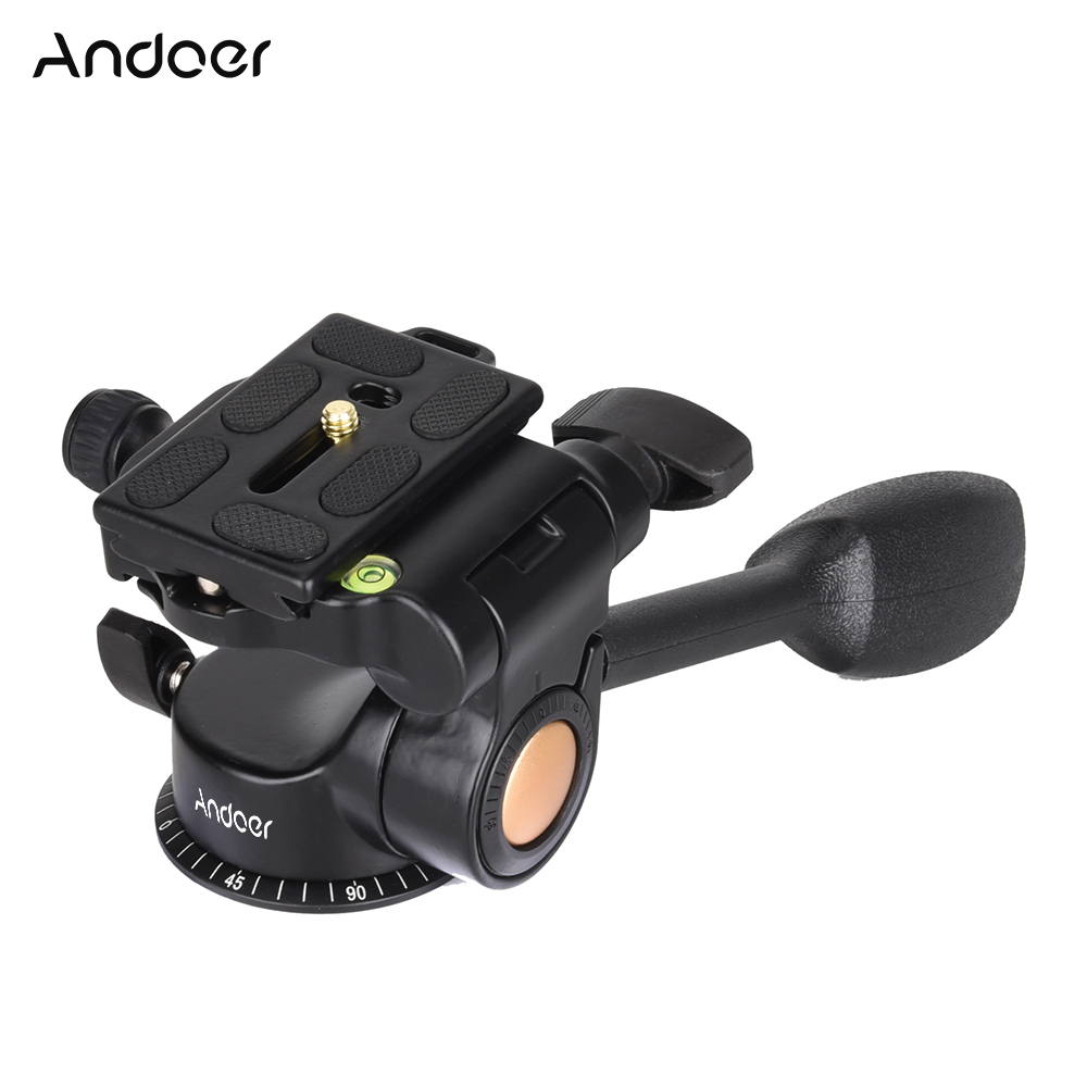 Andoer Q08 Video Tripod Ball Head 3 way Fluid Head Rocker Arm with Quick Release Plate for DSLR Camera Tripod Monopod