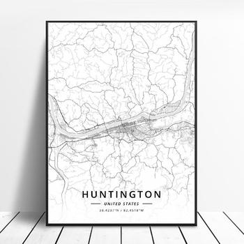 Chula Vista Fayetteville Huntington Louisville Mobile Montgomery Unitedstates Map Canvas Art Poster image