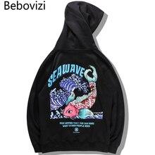 Bebovizi Japanese Streetwear Wave Carp Koi Fish Embroidered Print Hoodies Sweatshirts Harajuku Hip Hop Fashion Hoodies Tops