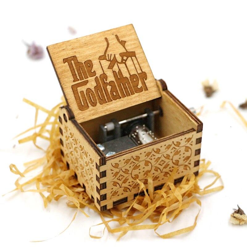 Старинная Музыкальная шкатулка с ручной резьбой по дереву в качестве подарка на день рождения и Рождество для вас и ваших друзей - Цвет: The Godfather
