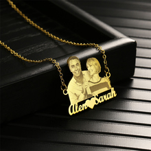 Custom photo/name necklace Customized Portrait choker of couple/brother/sister/family Stainless steel jewelry chain pendant gift