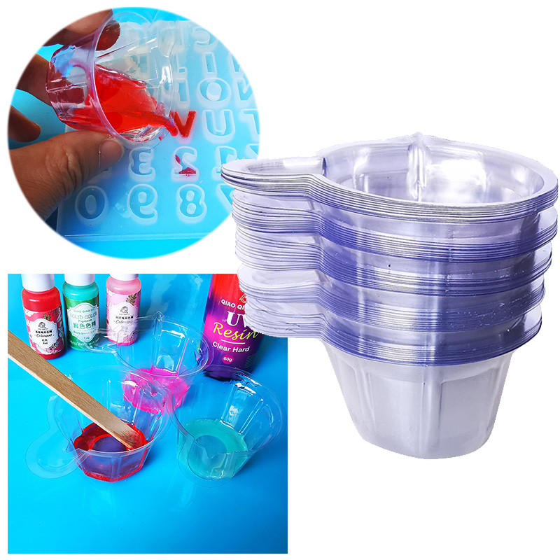 QIAOQIAO DIY 50Pcs 40ML Plastic Disposable Cups Dispenser DIY Epoxy Resin Jewelry Making Tool