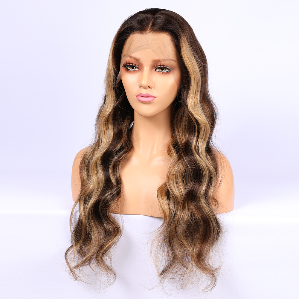 4*4 silk Base Highlight Wigs Lace Front Human Hair Wig Silk Top Front Lace Wig Pre Plucked Remy Hair