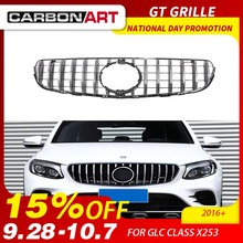 GLC X253 AMG-style Front Racing Mesh Grill for Mercedes GLC200 GLC250 GLC300 GlC450 Sport Version Silver 2017+