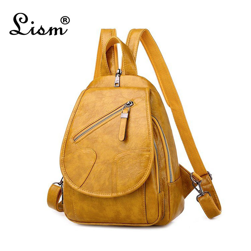 Luxury Female Backpack High Quality 3-purpose Multifunctional Backpack Large Capacity PU Leather Student School Bag 2020 NEW