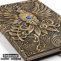 Cuaderno de cuero Vintage de estilo europeo en relieve, diario de bala, cuaderno de notas, Bloc de notas, cuaderno de viaje, papelería