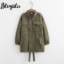 Blvyisla Letter Printed Army Green Oversize Trench Coat Female Loose Big Pocket