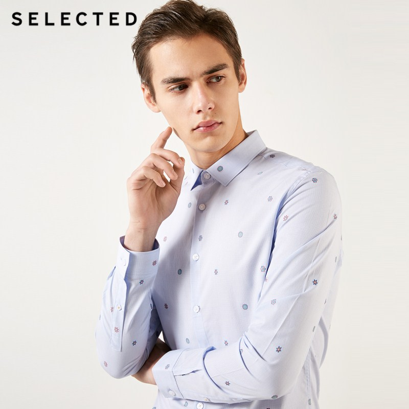 SELECTED Men's 100% Cotton Plaid Jacquard Long-sleeved Shirt S|419105541
