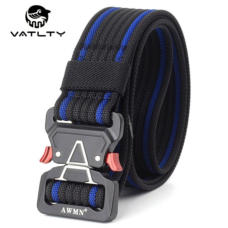 VATLTY Retro Men's Tactical Belt Anti-Rust Alloy Quick Release Buckle Strong Real Nylon Outdoor Work Sports Belt 1200D Army Belt