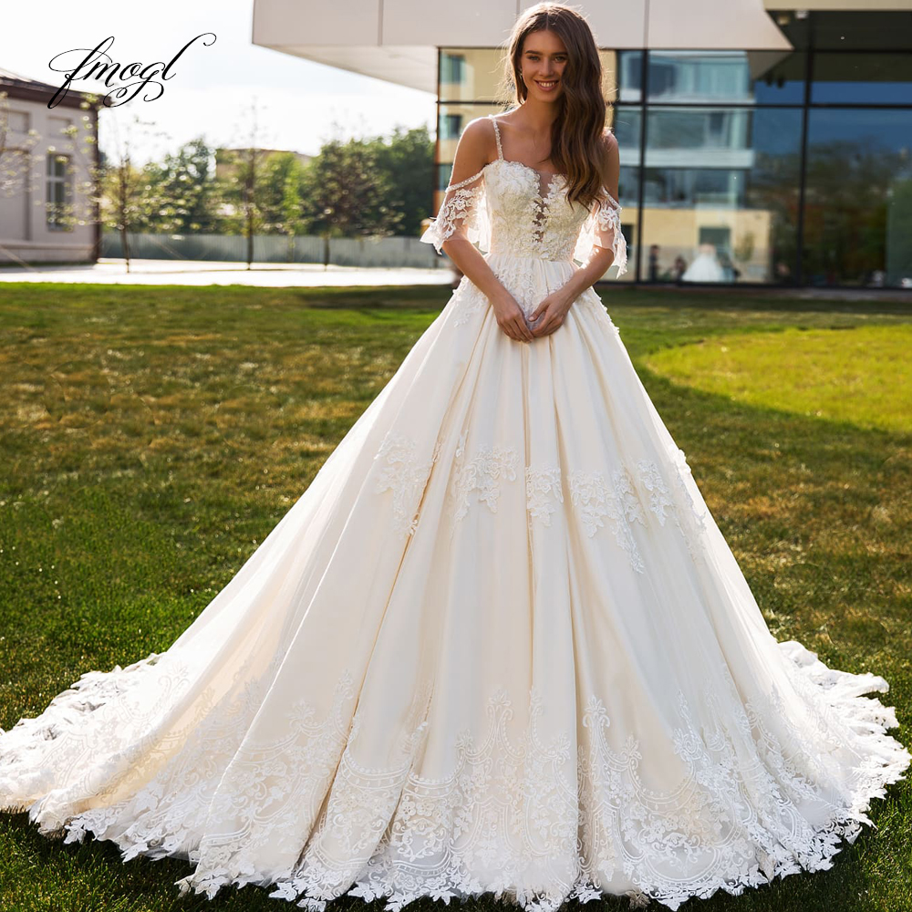Fmogl Sexy Backless Boat Neck Lace Princess Wedding Dresses 2019 Luxury Half Sleeve Appliques Beaded Vintage A Line Bridal Gowns