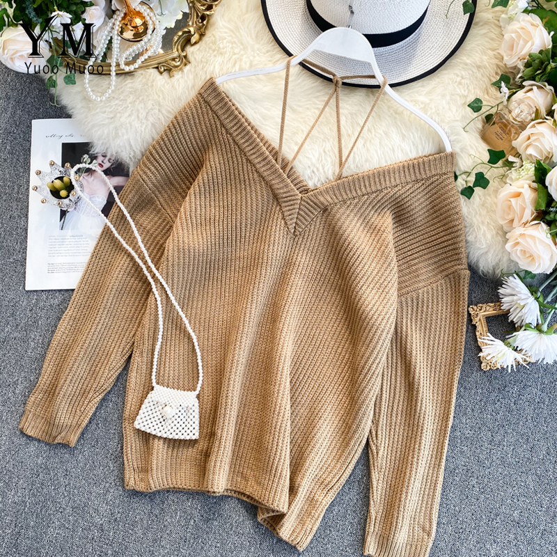 YuooMuoo Europe Ins Fashion Sweater Women Elegant Spaghetti Strap Off Shoulder Long Sleeve Pullover Knit Sweater Female Jumpers