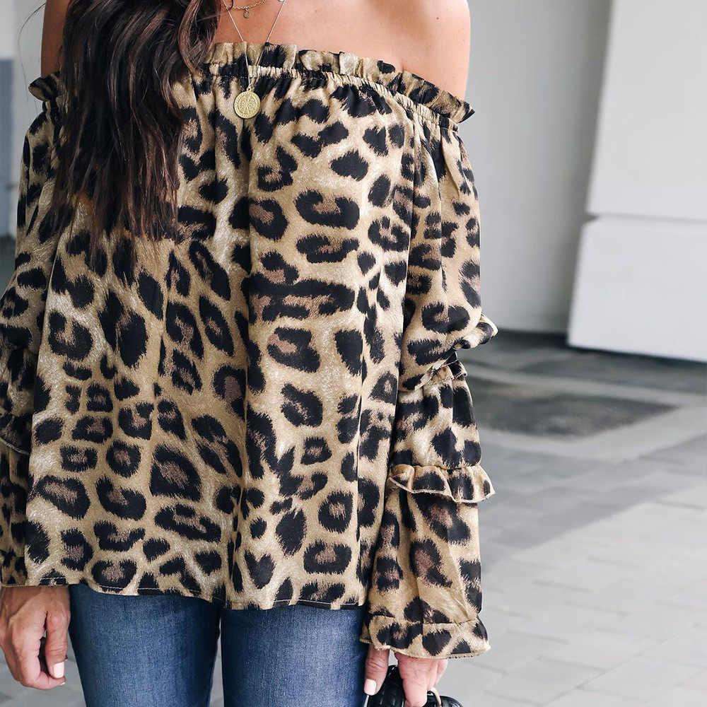 Modieuze nieuwe Afrikaanse nationale stijl Europese en Amerikaanse mode luipaard print houten oor rand chiffon blouse
