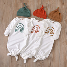 Long-Sleeve Newborn Baby-Boys-Girls Print Stripe Hat Rainbow Cotton 0-6M Nightwear Fall